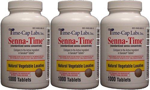 Senna-Time Generic for Senokot Natural Vegetable Laxative Senna 8.6 Mg 1000 Tablets per Bottle Pack Of 3 Bottles