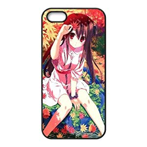 Girl Playing In Autumn Leaves Anime iPhone5s Cell Phone Case Black gife pp001_9281989