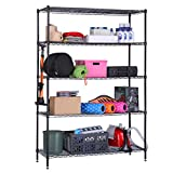 LANGRIA 5 Tier Garage Shelving Shelving Unit, Storage Rack Garage Shelf Heavy Duty Metal Shelves,Black