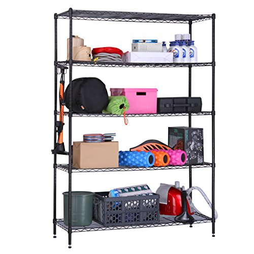 LANGRIA 5 Tier Garage Shelving Storage Rack Metal Shelves, Heavy Duty Commercial Metal Wire Shelving Unit in Black - Storage Unit Assembly