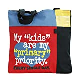Teacher Peach Colorblock School Teacher Tote Bag, Elementary Teacher Gift