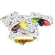 Langsprit Premium Reusable Sandwich & Snack Bags- Eco Friendly Dishwasher Safe Lunch Bags - Set of 3 - (Planet)