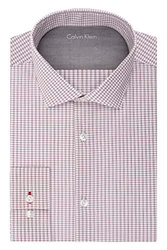 Calvin Klein Men's Stretch Xtreme Slim Fit Grid Check Spread Collar Dress Shirt,  Paprika,  14