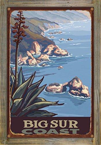 Big Sur California Coastline Rustic Metal Print on Reclaimed Barn Wood by Paul A. Lanquist (12