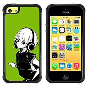 All-Round híbrido Heavy Duty de goma duro caso cubierta protectora Accesorio Generación-II BY RAYDREAMMM - Apple iPhone 5C - Anime Girl White Hair Headphones Music Green