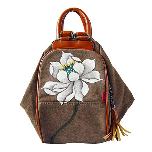 Ethnic Women Hand-paint Flower Backpack Large Capacity Travel Pouch Canvas Bag - Brown Lotus