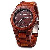 Bewell Men's Quartz Watch Made by Red Sandalwood Lightweight Wooden Watch W065A