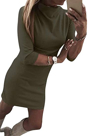 02aa7ca4305c0 OTW Womens Sexy Turtleneck Long Sleeve Slim Fit Solid Color Cocktail Party Midi  Dress at Amazon Women s Clothing store