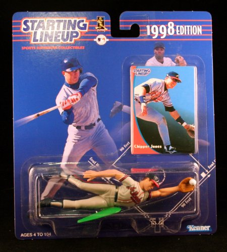 CHIPPER JONES / ATLANTA BRAVES 1998 MLB Starting Lineup Action Figure & Exclusive Collector Trading - Cards Gift Discount Rays