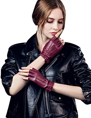 YISEVEN Women's Classic Sheepskin Leather Fingerless Gloves Lined Classic Soft Sheepskin 1/2 Half Finger Button Punk Motorcycle Cycling Fitness Touchscreen Warm Winter Glove, Wine Red 9.0
