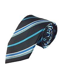 Mens Necktie Black Turquoise and White Stripe Colorful Fashion Tie