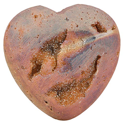 SUNYIK Carved Gemstone Puffy Heart Pocket Stone, Titanium Coated Drusy Geode Quartz Agate Healing Crystal Chakra Reiki, Champagne, 1.5
