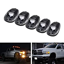 iJDMTOY 5pcs Amber LED Cab Roof Top Marker Running Lights For Truck SUV 4x4 (Black/Clear Lens Lamps)
