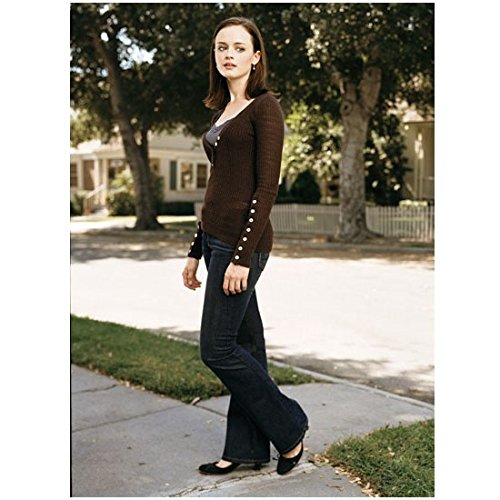 Gilmore Girls Alexis Bledel Wearing Brown Sweater with White Buttons and Black Heels 8 x 10 Photo