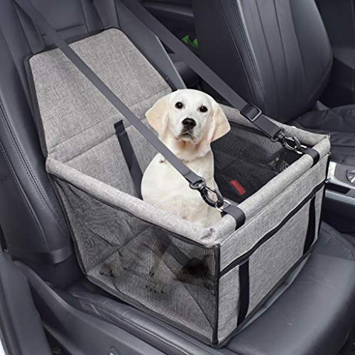 Islandse_pet Dog Booster Seat Car Seat Clip-On Safety Leash and Zipper Storage Pocket (Gray)