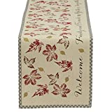 """DII 100% Cotton, Machine Washable, Printed Kitchen Table Runner For Dinner Parties, Fall, Holidays & Thanksgiving - 14x72"""", Rustic Leaves"""