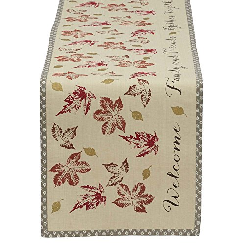 Cotton Table Runner, Rustic Leaves