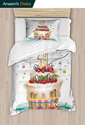 (1st Birthday 3D Bedding Quilt Set, Baby First Party Festive Cake with Forest Fruits and Candlestick Image Print, Reversible Coverlet, Bedspread, Gifts for Girls Women,79 W x 90 L Inches, Multicolor)