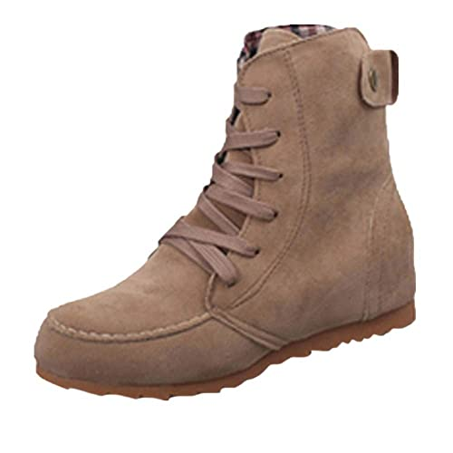 892e9951f0824 Theshy Women Flat Ankle Snow Motorcycle Boots Female Suede Leather ...