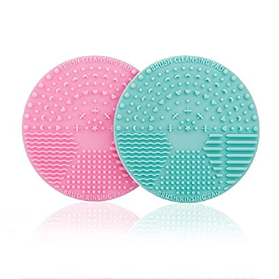 FANTCEN Makeup Brush Cleaner Silicone Brush Cleaning Mat Brush Scrubber Board Portable Mini Pad for Cosmetic Body Paint Set of 2 (Pink&Green)