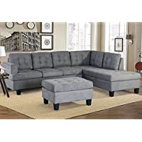 Merax Sofa 3-piece Sectional Sofa with Chaise and Ottoman Living Room Furniture,Grey (Grey.)