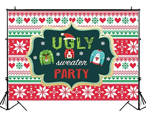Funnytree 7x5ft Tacky Christmas Sweater Party Backdrop Red and Green Ugly Xmas Patterns Photography Background Winter Kids Elfed Photobooth Decorations Step and Repeat Banner Invitation -