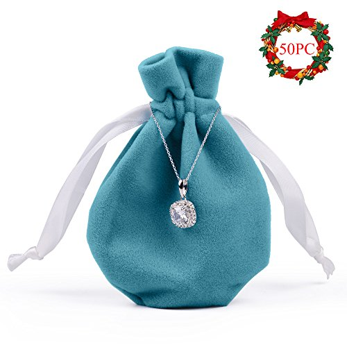 Oirlv Velvet Drawstring Favor Bags Jewelry Pouches Wedding Party Favor Christmas Gift Bag Home Travel Organizer(50Pack,Blue)