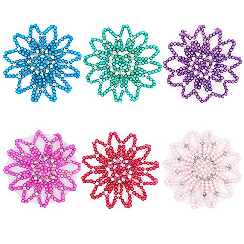 SUSULU 6pcs Hair Bun Cover with Rhinestone Hair Net Holder Handmade Elastic Crochet Mesh for Dancing Sports Daily Working Women Hair Accessories (Combination 1)