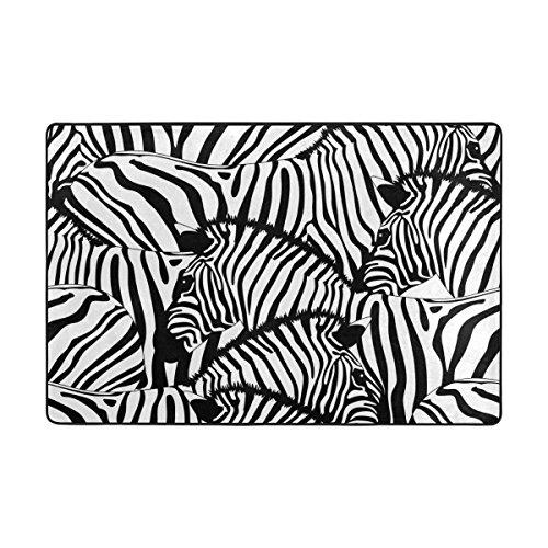 2 White Zebra - My Daily Zebra Black White Stripes Area Rug 2 x 3 Feet, Living Room Bedroom Kitchen Decorative Lightweight Foam Printed Rug