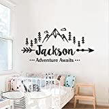 Boys Name Wall Decal Adventure Awaits Wall Decal Arrow Mountains Woodland Art Quote Tribal Travel Decor (21.5''h x 46''w PLUS FREE WELCOME DOOR DECAL)