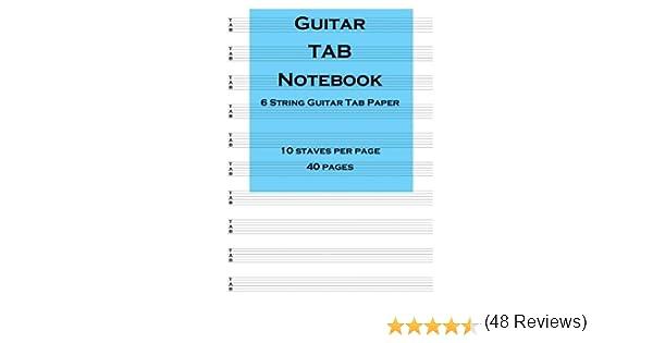 Guitar Tab Notebook: 6 string guitar TAB paper: Amazon.es: Blenham ...