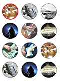 """Twelve 2"""" Guitar Edible Image Cupcake Toppers Decorations on Edible Wafer Rice Paper"""