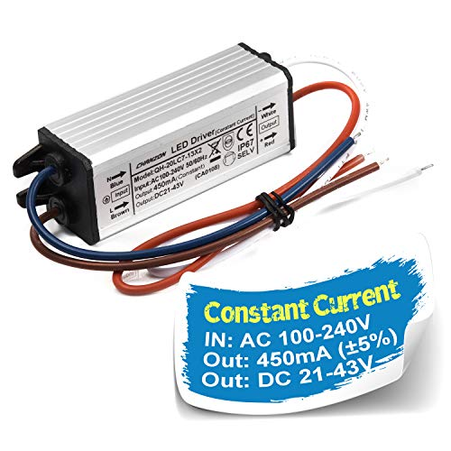 Chanzon LED Driver 450mA (Constant Current Output) 21V-43V (Input 100-240V AC-DC) (7-13) x2W IP67 Waterproof Power Supply 450 mA Lighting Transformer Drivers for High Power COB Chips (Aluminium)