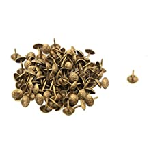 uxcell® Metal Dome Family Furniture Upholstery Tack Nail 10 x 15mm 100pcs Brass Tone