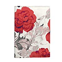 Red carnations Passport Holder vintage travel flowers cover eco leather material handmade
