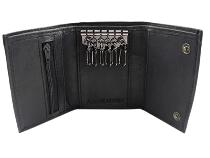 3f56500fa Black Leather Key Holder / Key Case Wallet Key Ring Soft Nappa Leather