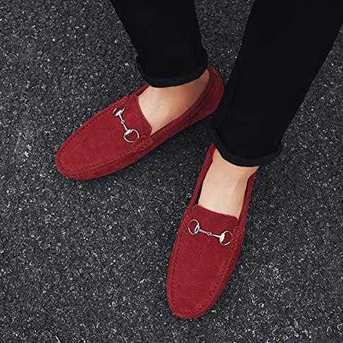 Herren Rot Loafers Slip SK Leder Schuhe Studio on Casual Mokassin SwPURv