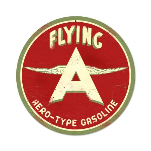 Past Time Signs Flying A Original Vintage Metal Sign Airplane Gas Car Auto 14 X 14 Not Tin ()