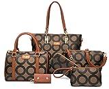 Womens 6 Pcs Lightweight Tote Work Bag Handbag and Purse Set (Brown-1)