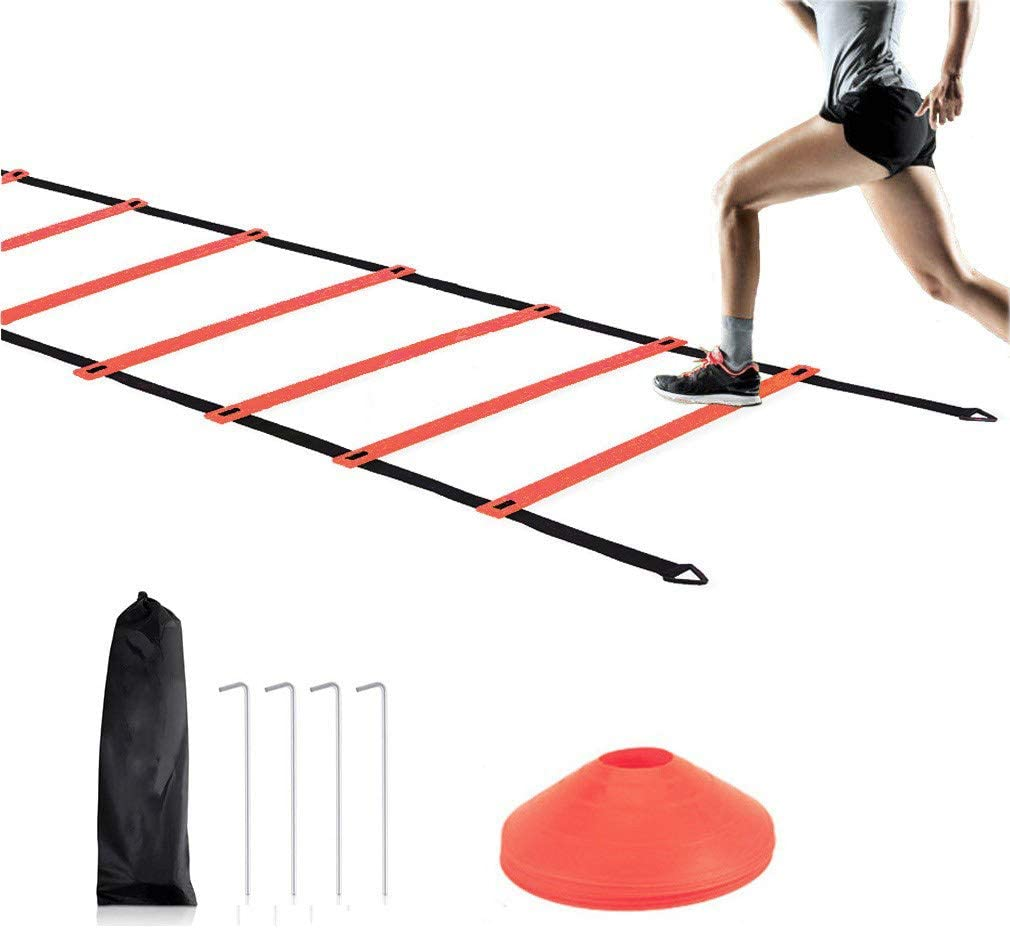 Workout Exercise Sports Soccer Running Training Tools for Kids and Adults 12Rung 20ft Speed Ladder Football Training Equipment Kit with 10 Cones and 4 Stakes FASHAYAY Agility Ladder Training Set