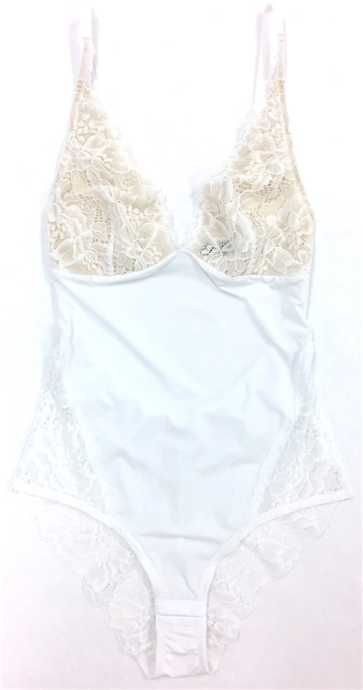 Samantha Chang Women's My Daily Bodysuit - New Lace & New Style (White, Large)