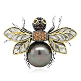925 Sterling Silver Black & Gold Plated Simulated Shell Pearl Bee Brooch