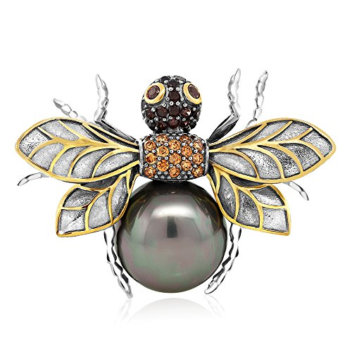 925 Sterling Silver Black&Gold Plated Noir Garden Simulated Shell Pearl Bee Brooch