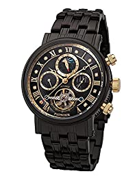 """Pionier - high quality automatic wrist watch Chicago """"All Black"""" stainless steel with stainless steel strap, two year warranty - 35 Jewels - Made in Germany"""