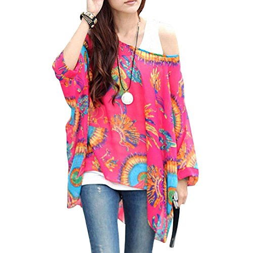 Sexy Bohemian Hippie Batwing Sleeve Chiffon Blouse Loose Off Shoulder Shirt Top One Size Color-17 ()