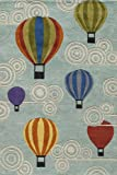 Momeni Rugs LMOJULMJ20MTI80A0 Lil' Mo Whimsy Collection, Kids Themed Hand Carved & Tufted Area Rug, 8' x 10', Multicolor Hot Air Balloons on Sky Blue