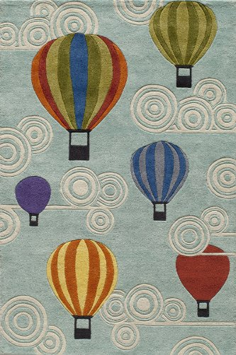 Momeni Rugs LMOJULMJ20MTI5070 Lil' Mo Whimsy Collection, Kids Themed Hand Carved & Tufted Area Rug, 5' x 7', Multicolor Hot Air Balloons on Sky Blue