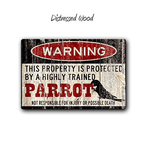 rfy9u7 Parrot Sign,Funny Metal Signs,Parrot Accessories,Bird Sign,Parrot Warning Sign,Pet Gift, Small Pet,Metal Sign,Pet Bird