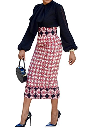 Faisean Womens African Print Floral Slim Skirts Midi Pencil High Waisted Vintage Midi Skirt For Women Knee Length