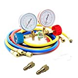 Bang4buck Diagnostic Manifold Gauge Kit Ideal for R134a, R12, R22, R502 HVAC A/C Refrigeration Charging Service Kit 5FT Three 36'' Hose with 2 Brass Couplers